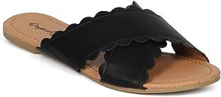 Women Leatherette Open Toe Scalloped Cross Strap Flat Sandal HH29