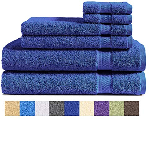 100% Cotton 6Piece Towel Set Navy Blue: 500 GSM 2 Bath Towels 2 Hand Towels and 2 Washcloths Classic Amercian Construction Soft Highly Absorbent Machine Washable