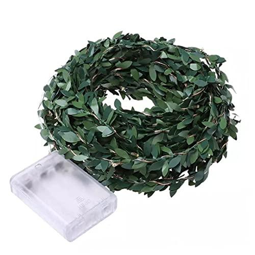 Verde de la hoja artificial de Navidad Garland Decoración con LED de alambre de cobre luces de la secuencia para la decoración 300CM 30 luces