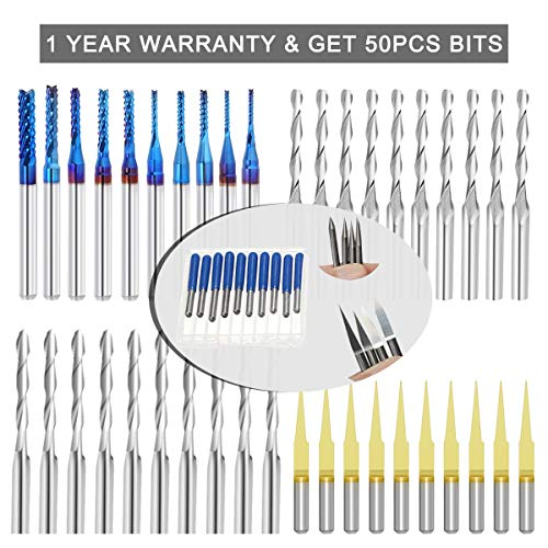 50Pcs End Mill Bits Set 1/8' Shank, CNC Router Bits Cutter Cutting Milling Tool (5 Type, Each 10Pcs) Including Flat Nose/Ball Nose End Mill, V-shape Engraving Bits and Nano Blue Coat End Mill