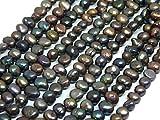 Perlas cultivadas de agua dulce, 8 mm, color antracita, negro, grano de arroz natural, barroco, piedras preciosas, perlas de concha, para enhebrar