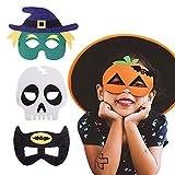 funme maschera per halloween in feltro superhero cosplay party mask maschera mezza maschere con corda elastica per halloween adulti e bambini party maskerade multicolore, 4 pezzi