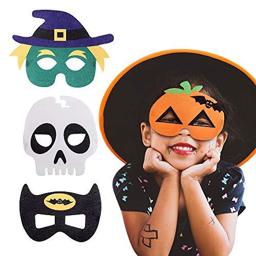 EasyAcc Halloween Masken Augenmaske Filz Masken Superhero Cosplay Party Masken Halbmasken mit Elastischen Seil für Halloween Erwachsene und Kinder Party Maskerade Multicolor, 4 Stücke
