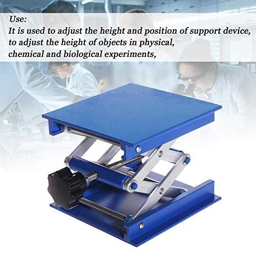 xiegons0 Laboratorio Levantar Plataforma, Aleación de Aluminio Manual Ajustable Elevador Elevador Elevador Lab Soporte Mesa Laboratorio Scissor Jack Elevador - Azul, Free Size