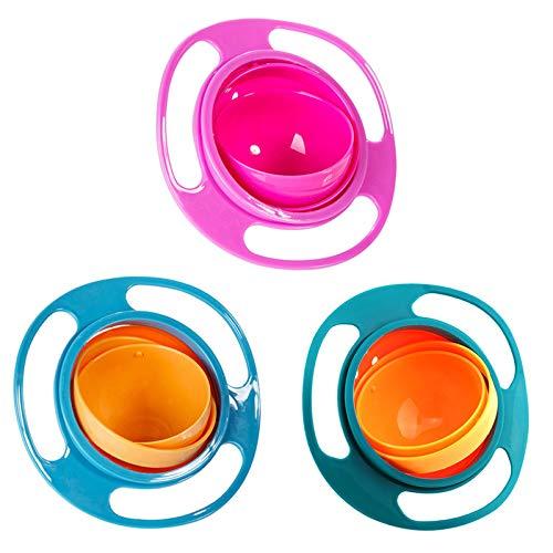 Homeng - 3 Cuencos antivuelco para bebé, giran 360º; bol giratorio, plato universal antivuelco, para enseñar a comer a bebés