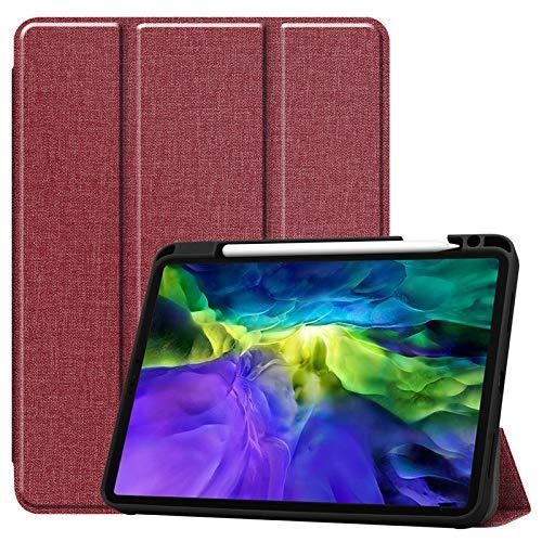 WAZS Tablet-hülle Kompatibel Mit Pad 2020 Hülle 12,9 Zoll, Mit Federhülle Ledertasche, Magnetische Smart Falthülle Schlanke, Leichte Shell-ständerabdeckung rot