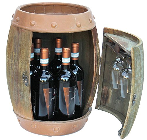 DanDiBo Weinregal Holz Weinfass Braun 44 cm 91361 Bar Flaschenregal Flaschenständer Klein Fass Holzfass