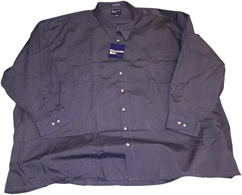 Big and Tall Premium Blend Two Pocket Square Bottom Charcoal Grey Shirt