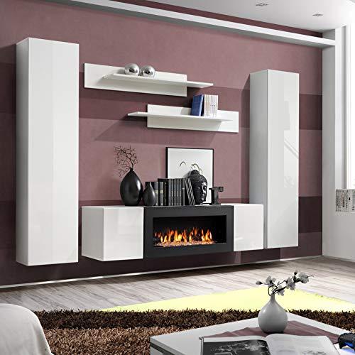 ASM FLY M1 Wandschrank, 260 cm breit, Push-Click-Türen, TV-Ständer, Kamin, zwei schwebende Schränke, Wandregale, Hochglanz-Weiß