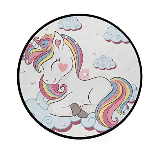 Mr.XZY Unicornio bebé cielo nubes corazón hermosa alfombra redonda infantil suave antideslizante alfombra circular alfombra para sala de estar dormitorio 92 cm 2010107