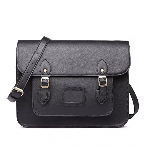 Women Ladies Girls Cambridge Style School Work Satchel Bag (Plain Black)