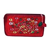 Antique Alive Embroidery Flower Portable Travel Multifunction Fabric Cosmetic Toiletry Pouch Case Zipper Clutch Bag Makeup Organizer Holder (Red)