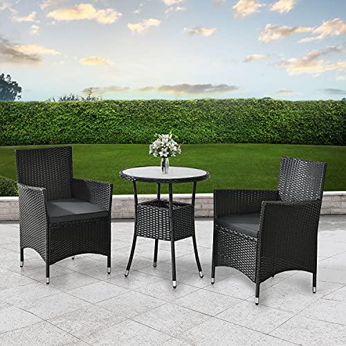 ArtLife Polyrattan Balkon Set Bayamo 2 Personen – Tisch mit Glasplatte & 2 Stühlen – Wetterfeste Balkonmöbel – Auflagen waschbar – schwarz – grau - 3