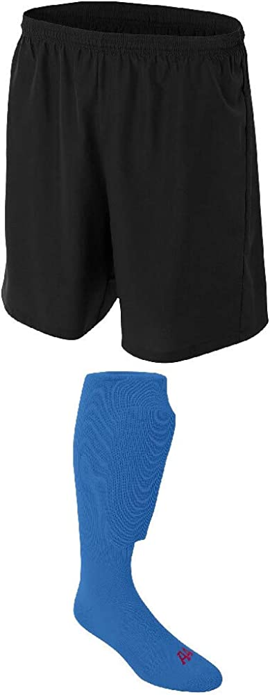 A4 Sportswear Black Adult Medium Fort Worth Mall Royal Soccer Max 82% OFF Shorts Socks