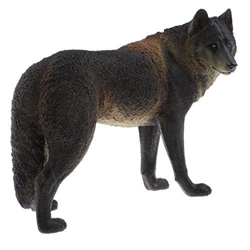 Baoblaze Lebensechtes Tier Modell Wildtier Insekte Zoo Tier Spielzeug Kinder pädagogisches Spielzeug - schwarz Wolf