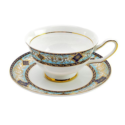 ACOOME Tea Cup and Saucer Set- 6.8oz Premium Quality Bone China Teacup Fine Dining and Table Decor (Baroque)