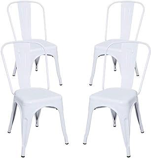 N1 Oh là là Home | Pack de Sillas - Pack 4 Sillas Industriales de Acero Talix - Blanco | Envío Desde España - Entrega en 3-5 días