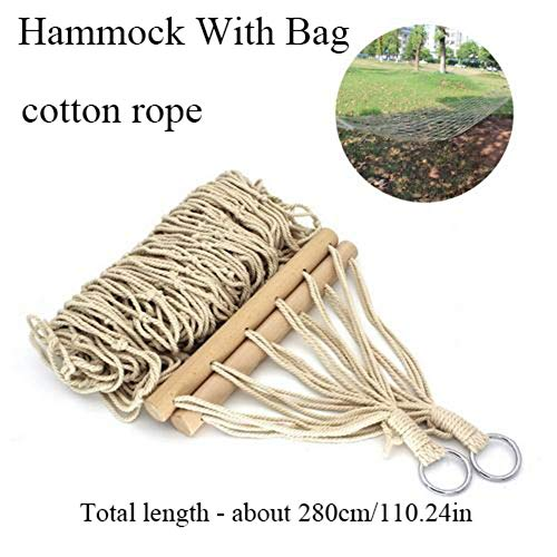 Ecisi 9ft Traditional Cotton Rope Hammock - Durable Quick Dry Hammock Chair with Solid Wood Spreader Bar and Portable Bag - for Outdoor Patio Yard Garden Camping