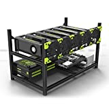 RXFSP Professional 6 GPU Miner Mining Case Aluminum Frame Mining Rig Black with 5 Fans