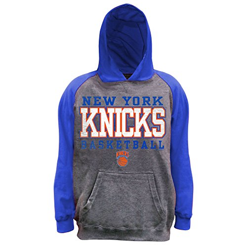 NBA New York Knicks Unisex Pullover French Terry Hood, Char Hthr/Royal, XL image