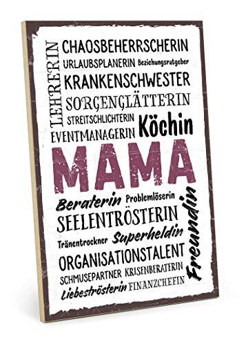 TypeStoff Holzschild mit Spruch – Mama WORDCLOUD – im Vintage-Look mit Zitat als Geschenk und Dekoration (Größe: 19,5 x 28,2 cm)