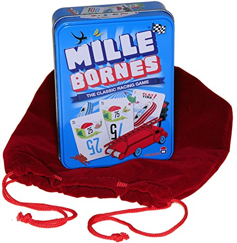 Deluxe Games and Puzzles Mille Bornes Card Game in Colorful Tin _ Bonus RED Velvet Drawstring Pouch _ Bundled Items