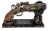 VERONESE 6 Barrel Steampunk Display Pistol Gun Prop W/Gauntlet Glove Stand Statue Figurine