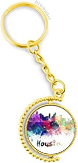 Houston America City Watercolor Metal Connector Key Chain Ring Accessory Golden Keyholder