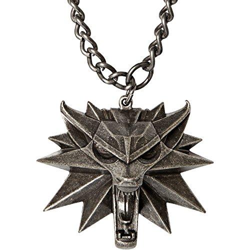 The Witcher Wild Hunt Medaillon Unisex Collar Plateado, Aleación de Magnesio,