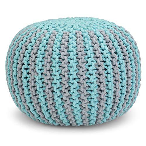 Simpli Home Celia Contemporary Round Hand Knit Pouf