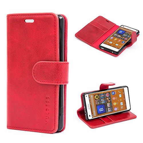 Mulbess Handyhülle für Sony Xperia Z3 Compact Hülle Leder, Sony Xperia Z3 Compact Handy Hüllen, Vintage Flip Handytasche Schutzhülle für Sony Xperia Z3 Compact Case, Wein Rot
