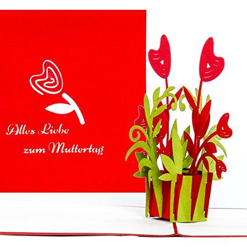 """3D Muttertagskarte \""""Alles Liebe zum Muttertag\"""" – tolle Geschenkidee: Grußkarte als kleines Geschenk, Gutschein - Geschenkverpackung & Gutscheinkarte - 3D Karte zum Muttertag"""