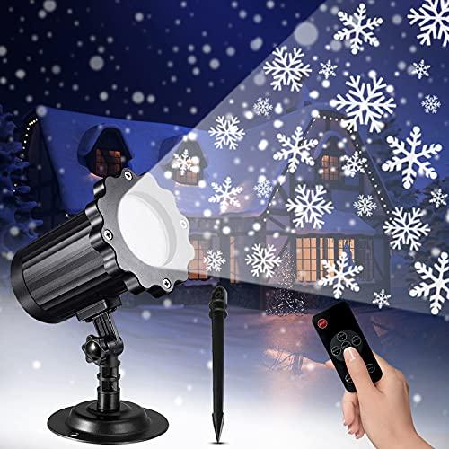 ZETOKE Proiettore Luci Natale LED, Luci per Proiettori a Fiocco di Neve con RF Telecomando, Luci Natale Impermeabili IP65 con Funzione di Temporizzazione, per Esterno Interno Natale Festa