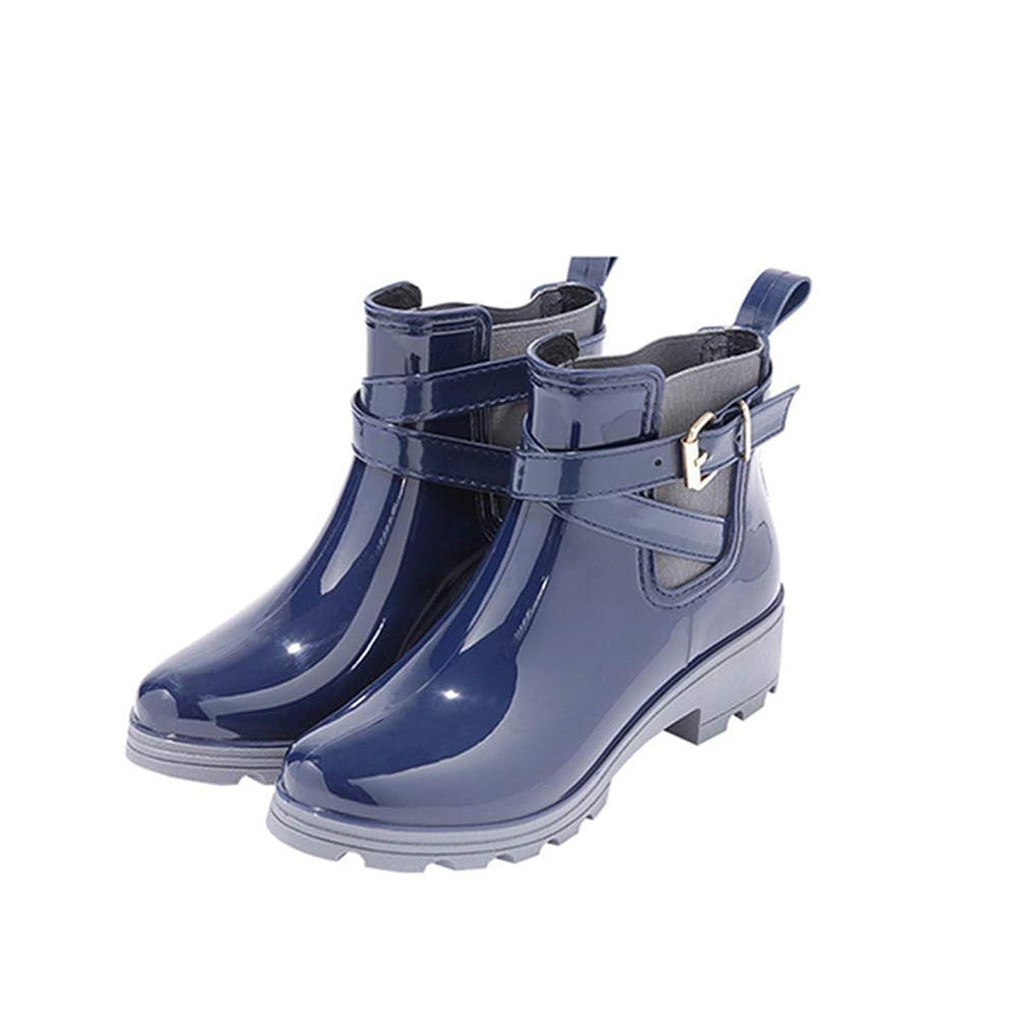 顕微鏡仮定芝生[OceanMap] 完全防水 美脚 レインブーツ レディース ショート ローヒール ラバーブーツ 厚底 大きいサイズ レインシューズ 通勤 おしゃれ 長靴 スノーブーツ 雪 靴 滑り止め 防水 防滑 雪道 ショートブーツ ネイビー