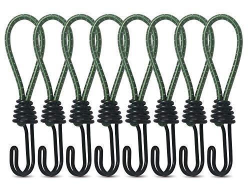 8 Spanngummi mit Haken Stück Zelt Elastic Rope Schnallenhaken Spiralhaken für Werbebanner (green)