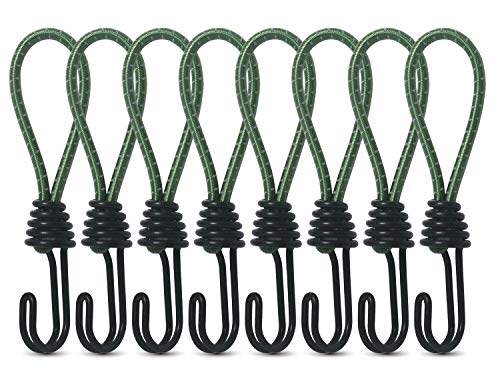 Hikeman 8 Pack 8mm Bungee Cord Hooks Black Anti-Rust Paint Spiral Wire Hooks with Separable Reflective Elastic Rope Heavy Duty Strapping Tape Hooks for Camping Trucks Boats (Green)
