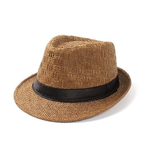 Yhui Cappelli da Sole Estivi da Viaggio in Barca e Spiaggia Fedora Cappello da Sole per Gentiluomo Elegante Donna 2 58 cm