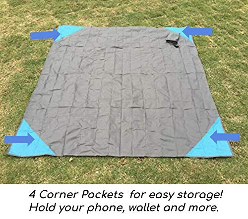 51pOP33b3UL - Travel Capsule Large Outdoor Pocket Blanket 55″x70″ - Perfect for Hiking, Camping, Outdoor Sporting Events, picnics and More! Stakes and Carabiner Included. Perfect for Quarantine HANGOUTS!