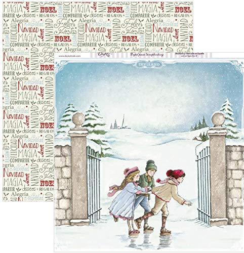 Dayka Trade Papel para scrap Niños patinando navidad, Multicolor, Talla unica