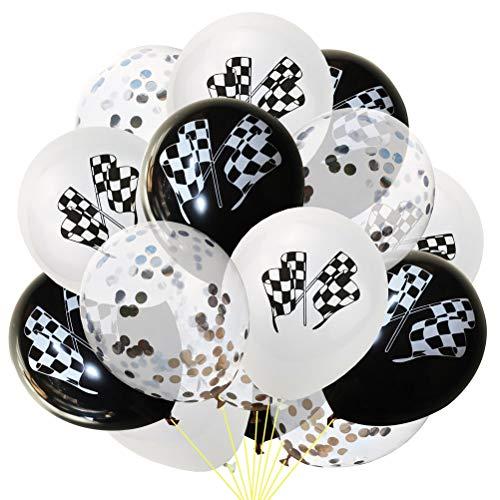 Toyvian - Lote de 15 banderas de cuadros, globos de látex, para la fiesta del coche de carreras (blanco y negro)