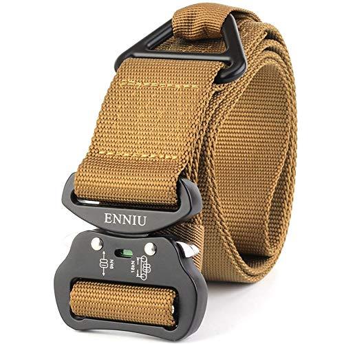 LQY Multifunktional Outdoor Belt Heavy Duty Belt für Herren, Heavy-Duty Duty Armate Heavy Duty Hüftgurte mit Schnellverschluss Länge 125 cm Breite 4,5 cm L braun