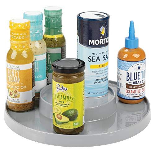 mDesign - Draaiplateau met 2 etages - ideale opberger in de keuken voor spijsolie, ingrediënten, kruiden, specerijen, flesjes en potjes - grijs
