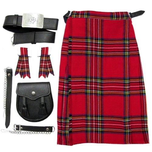 Tartanista - Kilt complet pour garçon - avec sporran/ceinture/flashes - Royal Stewart - 13-14 ans | 76-81 cm L 58 cm
