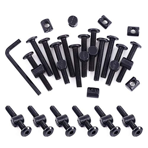 Swpeet 51Pcs Black M6 × 40mm Crib Hardware Screws, Hex Socket Head Cap Crib Baby Bed Bolt and Barrel Nuts with 1 x Allen Wrench Perfect for Furniture, Cots, Crib Screws (M6x40mm)