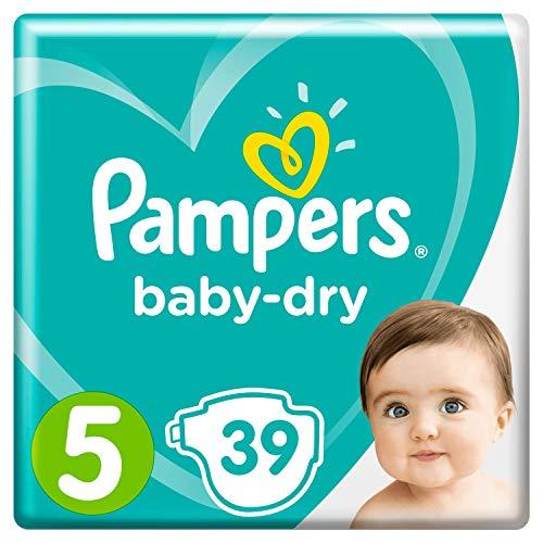 Pampers Baby-Dry Größe 5, 39 Windeln, 11-16 kg, Essential Pack, Luftkanäle für atmungsaktive Trockenheit über Nacht