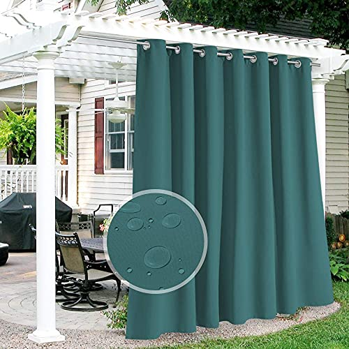 RYB HOME Outdoor Curtains for Patio - Waterproof Blackout Insulated Curtains for French Door Porch Pergola Cabana Garage Arbor Balcony Deck, W 100 x L 84 inch, 1 Pc, Teal