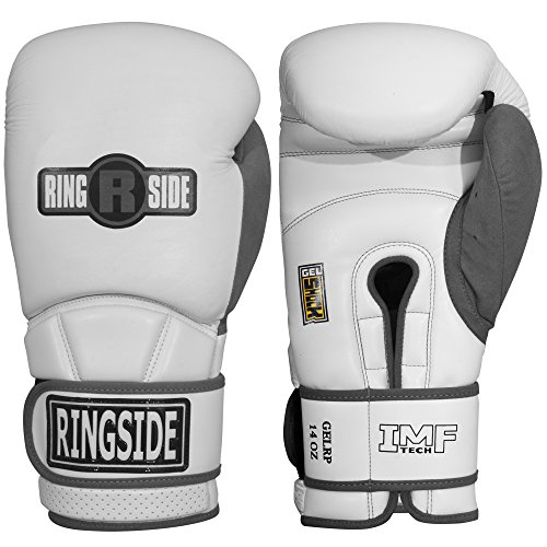 Ringside Gel Shock Safety Boxing Sparring Gloves, 16 oz., White/Gray