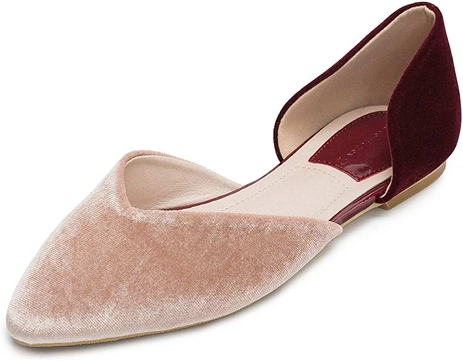 Women's Flat shoes Spring and Summer Sandals Women's Hollow Single shoes Pointed Sandals Cute Gentle Evening shoes Holiday Slippers Summer Women's shoes Ladies (color   Nude Pink, Size   35 US5.5)