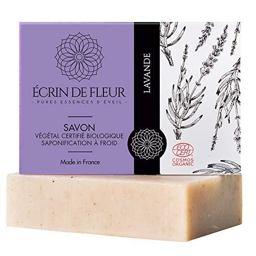ÉCRIN DE FLEUR | Zertifizierte Bio von Ecocert | Lavendel Seife | in Frankreich handgemacht | Naturseife kaltgerührt | entspannende ätherische Lavendelöl-Seife | Ohne Palmöl & SLS | 100g