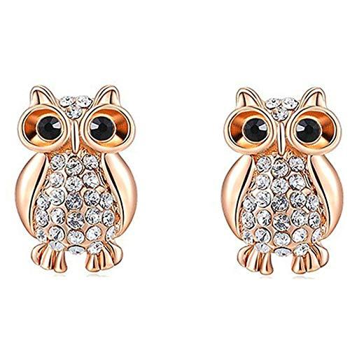 KnBob Stud Earrings Rose Gold Owl Cubic Zirconia Earrings Alloy for Women